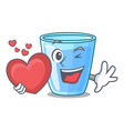 with heart water glass isolated on the mascot vector image