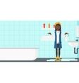 Woman in despair standing near leaking sink vector image vector image