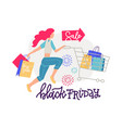 woman shopper with shopping cart and paper bags vector image