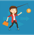woman trying to catch bitcoin on fishing rod vector image vector image