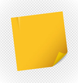 Yellow paper note sheet isolated on transparent vector image vector image