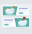 young women taking bubble bath in bathtub banners vector image vector image