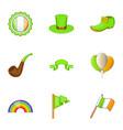irish celebration icons set cartoon style vector image