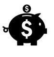 piggy bank icon silhouette saving money symbol vector image