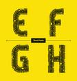 alphabet celtic golden style in a set efgh vector image