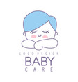 baby care logo design emblem with cute sleeping vector image vector image