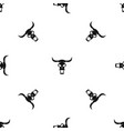 buffalo skull pattern seamless black vector image vector image