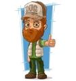 Cartoon bearded trucker in cap vector image vector image
