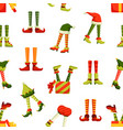 christmas elf legs flat seamless pattern vector image