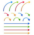 colorful arrow sets straight and bent arrows vector image