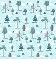 cute flat blue winter forest trees pattern vector image vector image