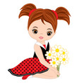cute little girl with flowers vector image vector image