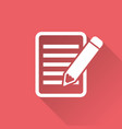 document with pencil pictogram icon simple flat vector image vector image