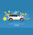 dream car woman character dreaming automobile vector image vector image