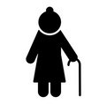 elderly woman icon pensioner silhouette symbol vector image