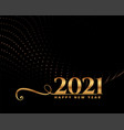 elegant happy new year 2021 golden greeting card vector image