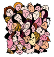 Female concept - many faces and expression vector image vector image