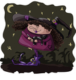 Figure witch with a cat on Halloween vector image vector image