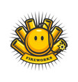 fireworks emblem with smiling bomb and petards vector image