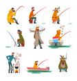 fisherman fishing with fishing rod and cooking vector image vector image