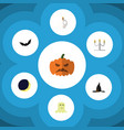 flat icon halloween set of candlestick vector image vector image