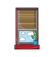 grated window with curtain blind open and plant vector image