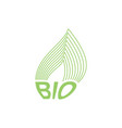 green leaf bio emblem sign for natural product vector image
