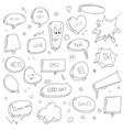 hand drawn set sketch speech bubbles vector image vector image