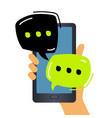 hand holding a smartphone and chatting bubble vector image vector image