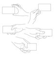 hand holding blank business card set vector image