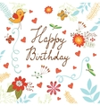 Happy Birthday card with flowers and butterflies vector image vector image