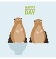 Happy groundhog daylogo icontwo Marmotone vector image
