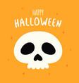 happy halloween card with cartoon spooky skull vector image