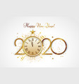 happy new year greeting card golden 2020 vector image