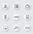 hardware icons set with media device office vector image vector image