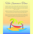 hot summer time yellow poster vector image vector image