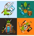 Hunting and fishing flat set vector image vector image