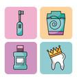 icon set dentist profession vector image vector image