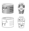 isolated object of can and food logo collection vector image vector image