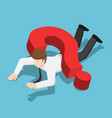 isometric businessman crushed by question mark vector image vector image