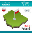 isometric map and flag poland officially vector image