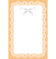 lace background with white bow vector image vector image