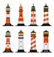 Lighthouse set flat style on white background