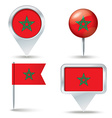 Map pins with flag of Morocco vector image