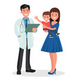 pediatrician and mother with a childd vector image