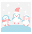 penguins in winter cloth - winter flat icon set vector image