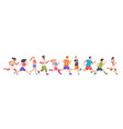 people marathon different men and women running vector image vector image