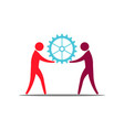 people teamwork holding a gear business work vector image vector image