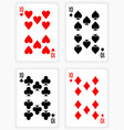 Playing Cards Showing Tens from Each Suit vector image