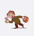 red hair child picking mushrooms vector image